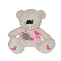 Urso De Pelúcia - Creme - Com Blusinha Rosa