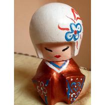 Gueixa Boneca Decoração Branca Japonesa Kokeshi Pronta Entre