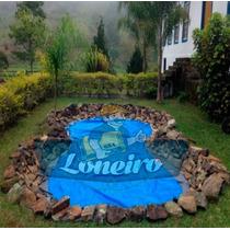 Lona Plástica Azul 6x6 Tanque Peixes Lago Cisterna 300micras