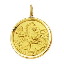 Leão Jóias Medalha Pingente São Jorge De Ouro 18k 12,5gr