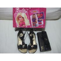 Sandália Infantil Barbie Anabela De Dedo Com Bolsa De Brinde