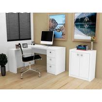 Mesa Em L Reversivel E Armario Pequeno C/ Divisoria Branco