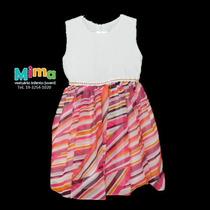 Vestido Festa Infantil Listrado Colorido - Menina Tam 1 E 2