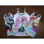Kit 3 Blusinha Infantil Enfeite Coração Personagens Princesa