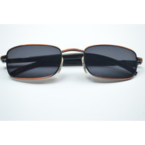 Óculos De Sol Pequeno Quadrado Masculino Escuro C/ Dourado