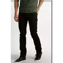 Calça Jeans Sarja Preta Black Slin Fit Lycra Stretc Masculin