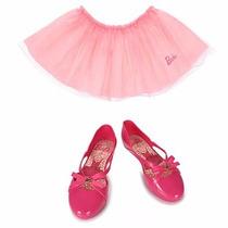 Sapatilha Infantil Barbie Com Brinde Saia De Bailarina