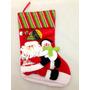 Decoração Meia Vermelha De Natal Boneco De Neve E Papai Noel