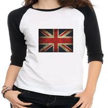 Camiseta Raglan Bandeira Inglaterra - Feminina