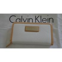 Carteira Calvin Klein Fem Branca E Crem 100% Original Linda