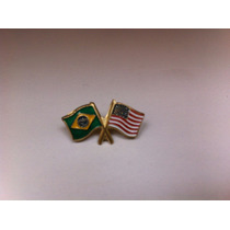 Pins Da Bandeira Do Brasil X Estados Unidos (eua)