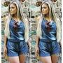 Macaquinho Feminino Jeans Macacão 4 Tipos +calcinha D Brinde