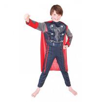 Fantasia Super Héroi Thor Infantil Premium C/músculos E Capa