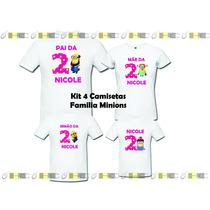 Kit Família Minions - 4 Camisetas Personalizadas!