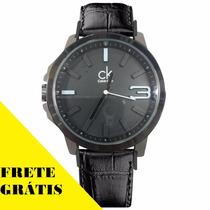 Relógio Masculino Luxo Ck Calvin Klein Pulseira Couro Frete