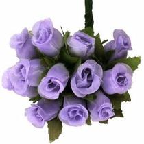 144 Mini Rosas Lilás - Pacotes Rosinhas Cetim Artificiais