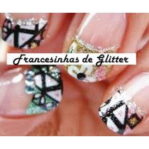 13 Adesivos Unhas Francesinhas De Glitter Importados