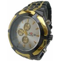 Relógio Masculino Haixia Original Com Caixa Preto E Dourado