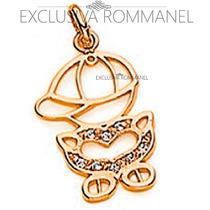 Rommanel Pingente Menino Folhe Ouro Feminino Zirconia 541411