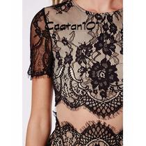 Top Cropped Vestido Renda Vintage Preto E Nude