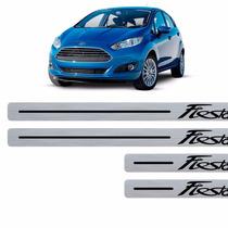 Kit Soleira Adesiva Ford Fiesta Textura Aço Escovado