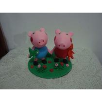 Topo De Bolo Peppa Pig E George Aniversário Chá De Fraldas