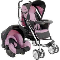 Travel System Carrinho De Bebê + Bebê Conforto Cross Rosa Ki