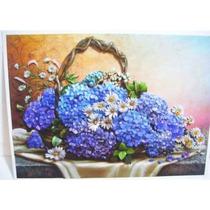 Quadro Para Sala Flores Hortências Lilás Arte Francesa