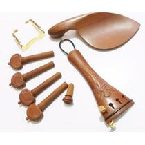 Kit Montagem Violino Escupido Cravelhas Queixeira Estandarte