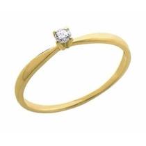 Anel Noivado Solitário De Ouro 18k 1 Diamante 5 Pontos