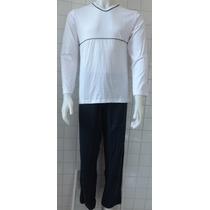 Pijama Masculino Gola V Manga Longa/calça Longa Em Algodão