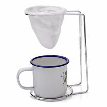 Mini Coador De Café+suporte Cromado+xícara Esmaltada