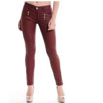 Calça Feminino Resinada Com Ziper Jeans Com Lycra Vinho