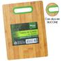 Tabua De Cortar Carne Retangular Em Bambu Com Alça Silicone