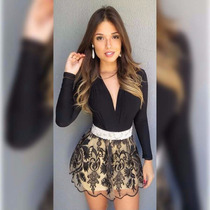 Body Bruna Marquezine Decote Feminino Bojo Manga Longa
