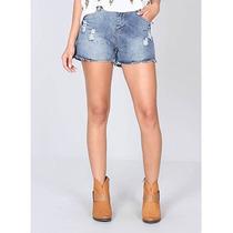 Shorts Jeans Com Barra Desfiada Feminino Oxus Stone