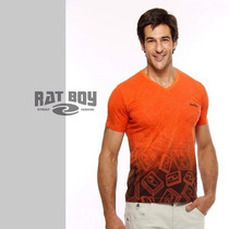 Camiseta Masculina Rat Boy Gola V - Laranja/preto
