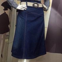 Saia Jeans Moda Evangélica Evasê Com Cinto (36 Ao 42)