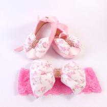 Sapatilha Bebê + Faixa Tiara Rosa Laço Floral Bailarina