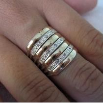 Anel 7 Elos Em Prata 950 E Ouro 18 K Zircônia Frete Grátis