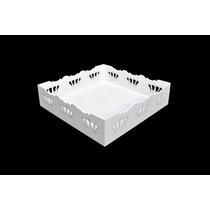 Bandeja Festa Quadrada Coroa Branca Laser 5,2x20,9x20,9 Mdf