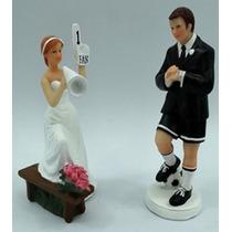 Topo De Bolo Casal Noivinhos De Resina Noiva Fã Número 1