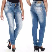 Sawary Calça Jeans Modela Bumbum Com Bojos Cintura Alta