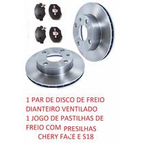 Disco Freio + Pastilhas Com Presilhas Chery Face S18 1.3 16v