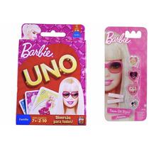 Coleção Com Jogo Uno Barbie Mattel E Kit Com 4 Anéis Barbie
