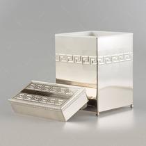 Conjunto Lixeira E Porta Lenço Em Ferro - 77,5x63 Cm
