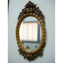 Espelho Europeu Oval Moldura Com Folhas De Pó De Ouro