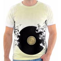 Camisa Camiseta Musica Notas Black Cd Disco Para Musicos