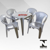Conjunto Mesa+poltronas Turim De Plástico Cinza Inox Goiania