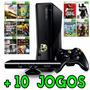 Xbox 360 Slim 4gb + Kinect + 10 Jogos + Roda Jogos Hd E Dvd
